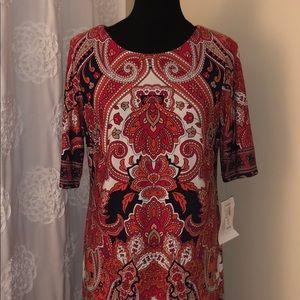 Classy Orange Print Dress